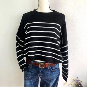 Striped Knit Boxy Fit Sweater Black White